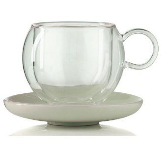 Cana cu perete dublu - Bola  Double Wall Cup & Saucer With Handle 75 ml
