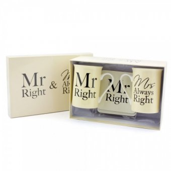 Set 2 cani in cutie cadou - Mr and Mrs Right  and Coaster