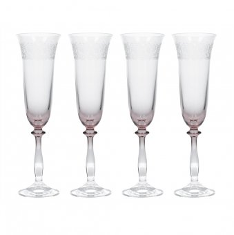 Set 4 pahare pentru sampanie - Katie Alice The Collection Etched Flute