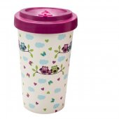 Cana de voiaj -  Bamboo Owls Purple 500ml