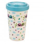 Cana de voiaj -  Bamboo Owls T. Blue 500ml