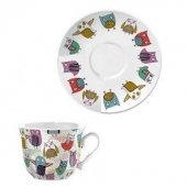 Ceasca ceai portelan - Retro Owl Tea Cup and Saucer