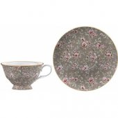 Ceasca portelan - KA Ditsy Floral Grey Tea Cup and Saucer
