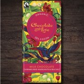 Ciocolata cu lapte caremel, sare de mare  si alune 50% -   Chocolate and Love - Organic  bar 80g