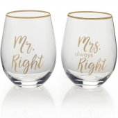 Set 2 pahare pentru vin  - Mr Right And Mrs Always Right