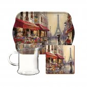Set pentru ceai - Paris Scene Glass Tea Time
