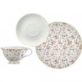 Set pentru pranz - KA Ditsy Floral White Cup With Saucer and Side Plate Set