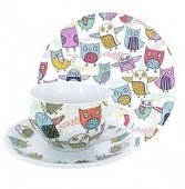 Set pentru pranz - Owl Retro Tea Cup With Cup Saucer and Side Plate