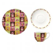 Set pentru pranz - Patchwork Owl Cup With Saucer and Side Plate