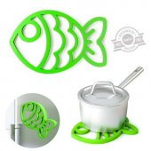Suport oale fierbinti - Trivet Fish Magnetic Green Silicone